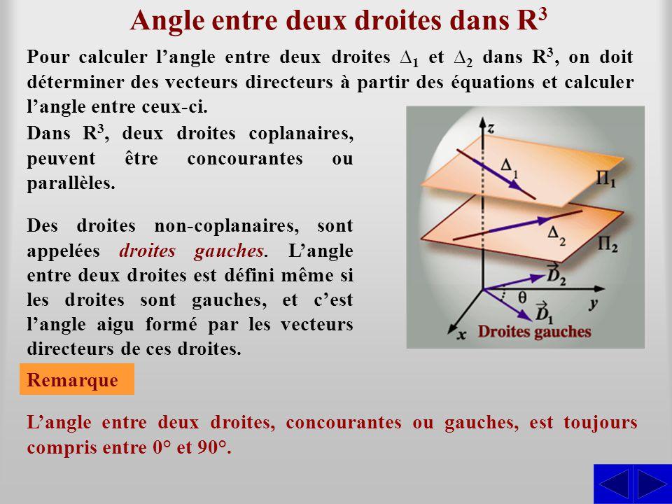 Exemple 12.3.2 Trouver l'angle entre les droites suivantes : Le vecteur directeur de ∆ 1 est : SS = (–3; 7; –2) D1 D1 ∆1 ∆1 : x = 2 – 3t y = –5 + 7t z = –3 – 2t et le vecteur directeur de ∆ 2 est : = (6; –2; –3).