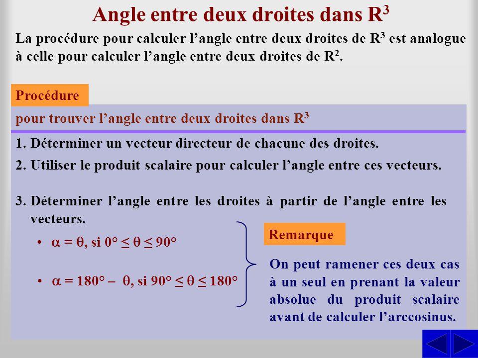 Exercice (Produit mixte) Trouver la distance entre les droites suivantes : SS Le produit mixte des vecteurs donne : d(∆ 1, ∆ 2 )  = La distance est alors donnée par : 6 –25 –56–2 = 6(4 – 30) – 5(–8 + 25) + 7(24 – 10) = 6(–26) – 5(17) + 7(14) = –143 4 57 D 1  D 2 ) = PR • ( D1  D2 )D1  D2 ) PR • ( D1  D2D1  D2 Les vecteurs directeurs sont : = (4; –2; 5) et D1 D1 ∆1 ∆1 : x = 5 + 4t y = 4 – 2t z = –2 + 5t = (–5; 6; –2).