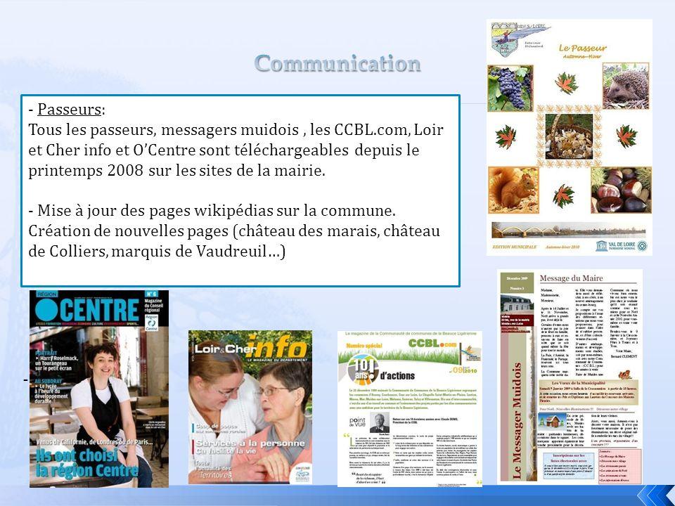 - - Passeurs: Tous les passeurs, messagers muidois, les CCBL.com, Loir et Cher info et O'Centre sont téléchargeables depuis le printemps 2008 sur les