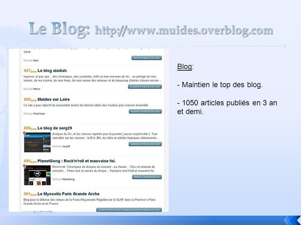 Blog: - Maintien le top des blog. - 1050 articles publiés en 3 an et demi.