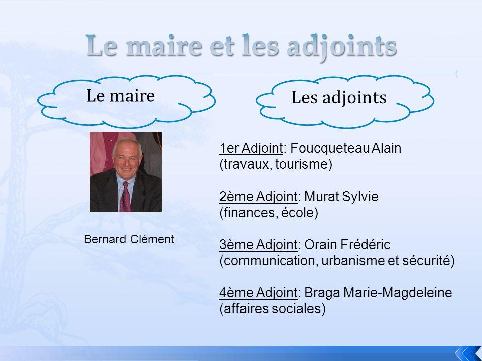 Le maire Les adjoints 1er Adjoint: Foucqueteau Alain (travaux, tourisme) 2ème Adjoint: Murat Sylvie (finances, école) 3ème Adjoint: Orain Frédéric (co