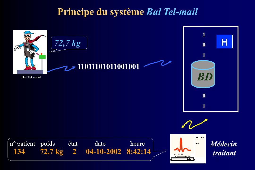 Synoptique de la balance Logiciel placé en mémoire flash dans les CPU