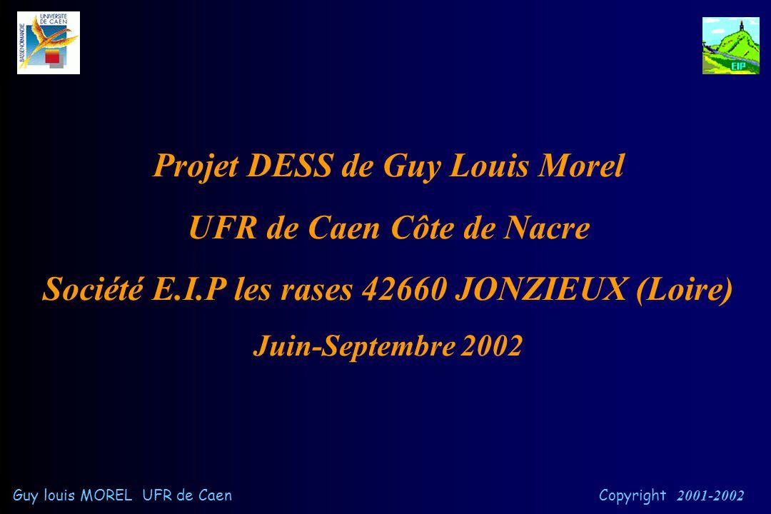 Système de surveillance par internet chez les personnes à risques cardio-vasculaires et chez les obèses Guy louis MOREL UFR de Caen Copyright 2001-200