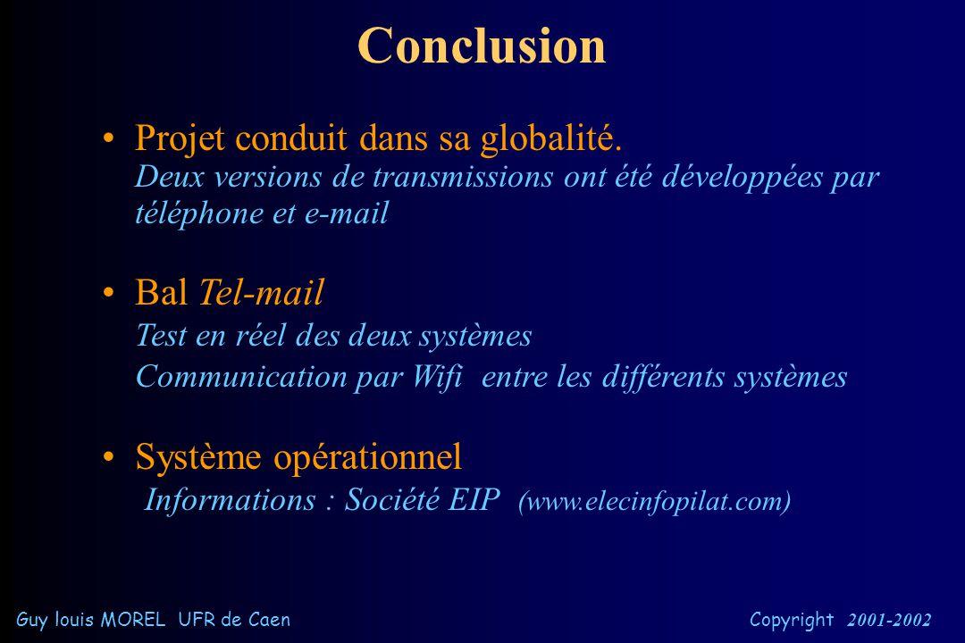 Ex: liaison radio entre la balance et Bal Tel-mail Guy louis MOREL UFR de Caen Copyright 2001-2002