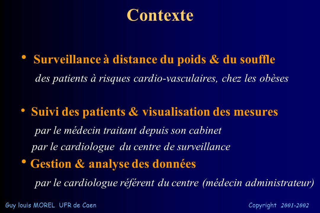 Présentation •Contexte •Objectifs •Choix techniques •Réalisations •Bilan & Perspectives •Conclusion Guy louis MOREL UFR de Caen Copyright 2001-2002