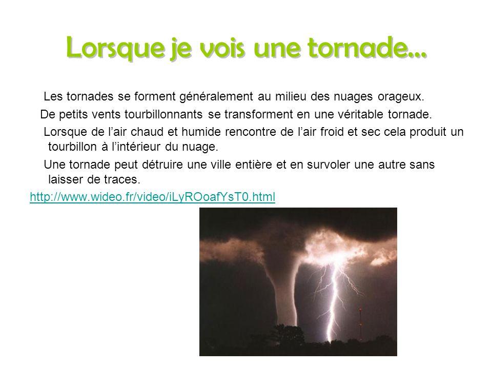 Qu'est-ce que c'est? Les tornades sont de terribles tourbillons en cône. Elles aspirent les toits de maisons, les voitures et répends les restes des d
