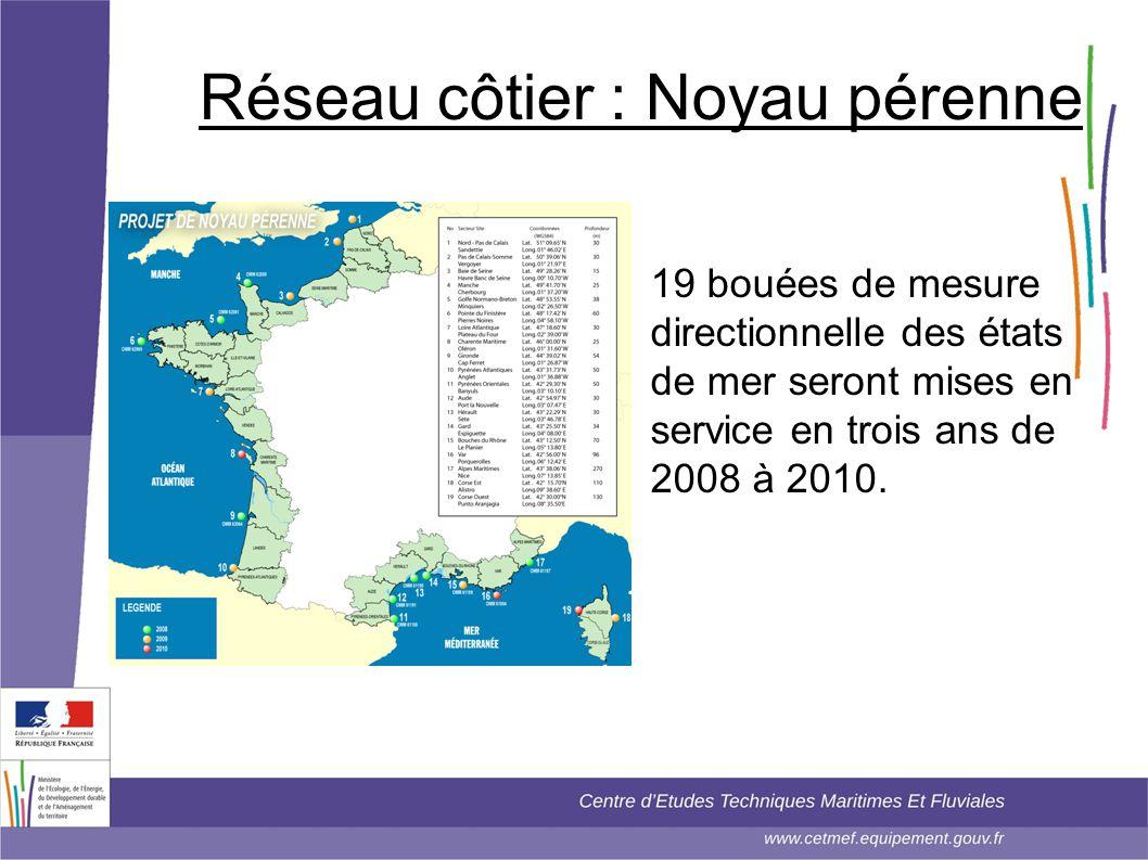 Réseau côtier : Noyau pérenne • 19 bouées de mesure directionnelle des états de mer seront mises en service en trois ans de 2008 à 2010.