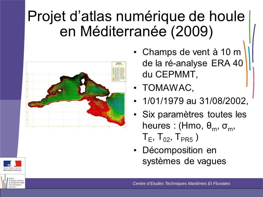 Projet d'atlas numérique de houle en Méditerranée (2009) • Champs de vent à 10 m de la ré-analyse ERA 40 du CEPMMT, • TOMAWAC, • 1/01/1979 au 31/08/20