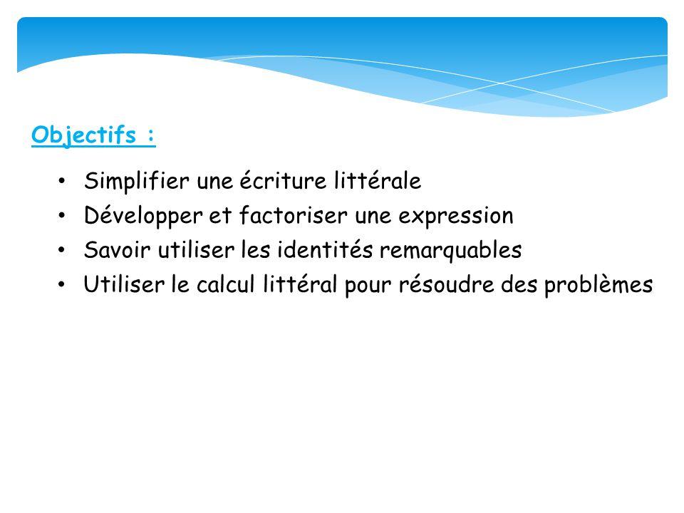 Objectifs : • Développer et factoriser une expression • Savoir utiliser les identités remarquables • Utiliser le calcul littéral pour résoudre des pro