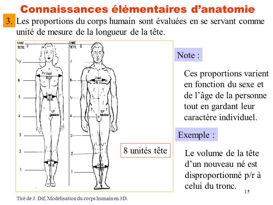 15 Connaissances élémentaires d'anatomie Les proportions du corps humain sont évaluées en se servant comme unité de mesure de la longueur de la tête.