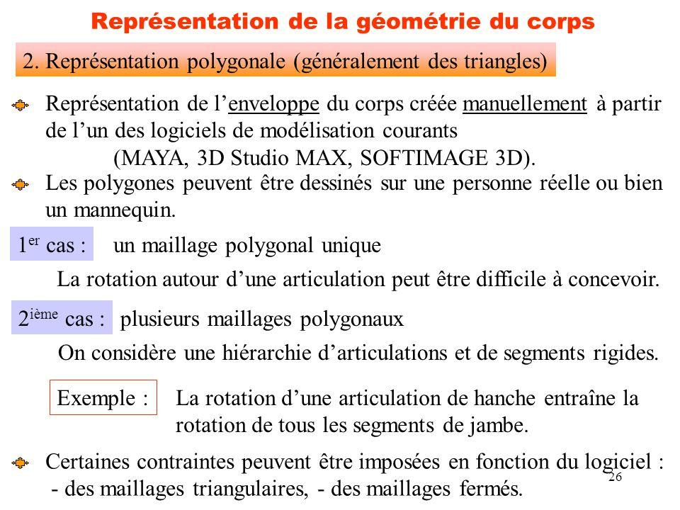26 Représentation de la géométrie du corps 2. Représentation polygonale (généralement des triangles) Représentation de l'enveloppe du corps créée manu
