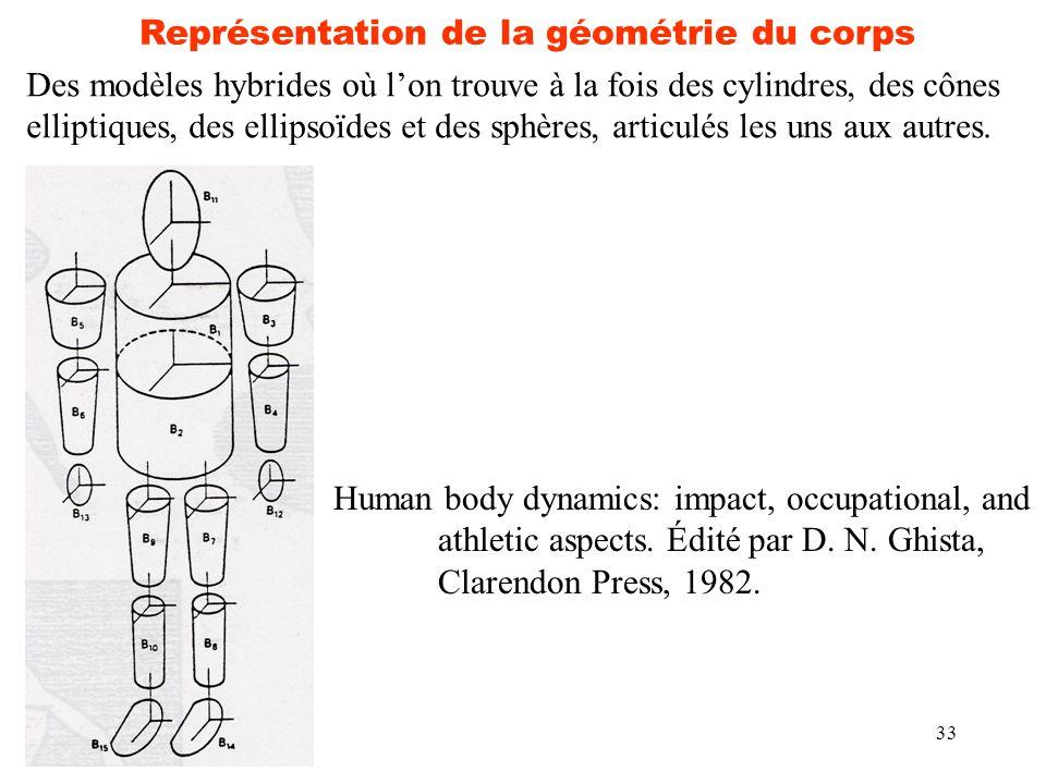 33 Représentation de la géométrie du corps Des modèles hybrides où l'on trouve à la fois des cylindres, des cônes elliptiques, des ellipsoïdes et des