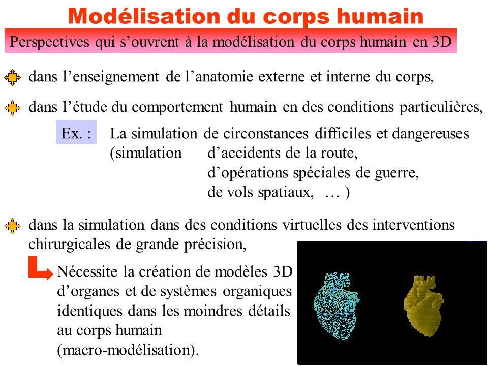 5 Modélisation du corps humain Perspectives qui s'ouvrent à la modélisation du corps humain en 3D placer sur des modèles virtuels d'une manière réaliste différents organes en états pathologiques (imagerie biomédicale), Ex.: Une tumeur détectée sur un poumon peut être transposée sur un modèle 3D ce qui permettra au chirurgien de mieux com- prendre les rapports entre la tumeur et les organes avoisinants.