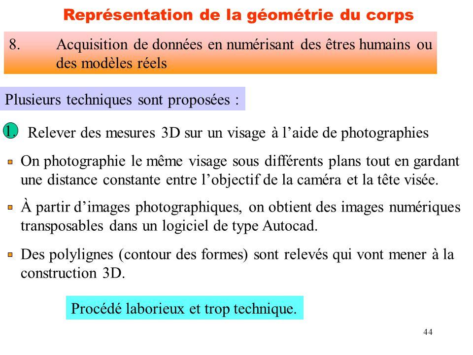 44 Plusieurs techniques sont proposées : 1. On photographie le même visage sous différents plans tout en gardant une distance constante entre l'object