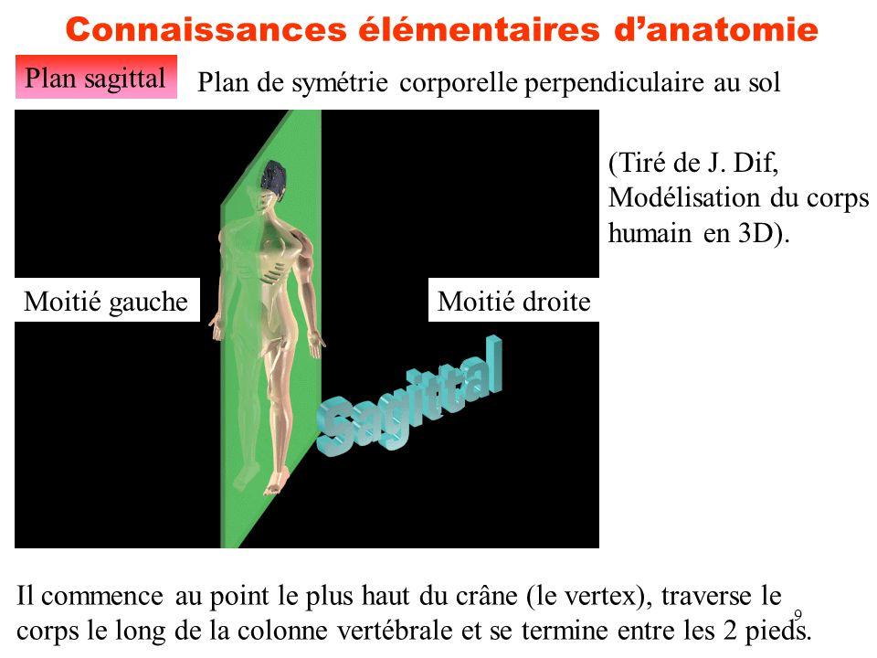 9 Connaissances élémentaires d'anatomie Plan sagittal (Tiré de J. Dif, Modélisation du corps humain en 3D). Plan de symétrie corporelle perpendiculair