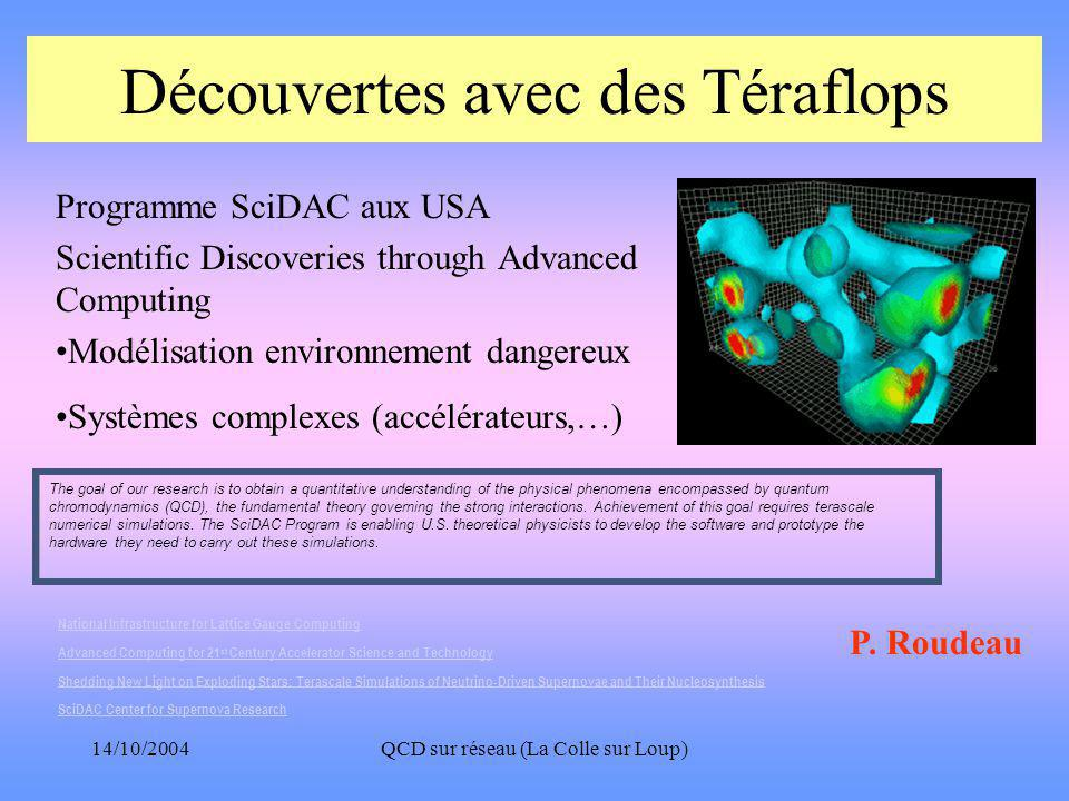14/10/2004QCD sur réseau (La Colle sur Loup) Découvertes avec des Téraflops Programme SciDAC aux USA Scientific Discoveries through Advanced Computing •Modélisation environnement dangereux •Systèmes complexes (accélérateurs,…) The goal of our research is to obtain a quantitative understanding of the physical phenomena encompassed by quantum chromodynamics (QCD), the fundamental theory governing the strong interactions.