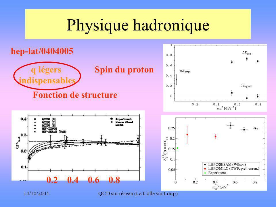 14/10/2004QCD sur réseau (La Colle sur Loup) Physique hadronique hep-lat/0404005 Spin du proton Fonction de structure 0.2 0.4 0.6 0.8 q légers indispensables