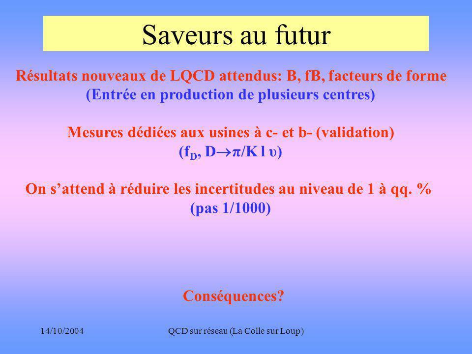 14/10/2004QCD sur réseau (La Colle sur Loup) Saveurs au futur Conséquences.