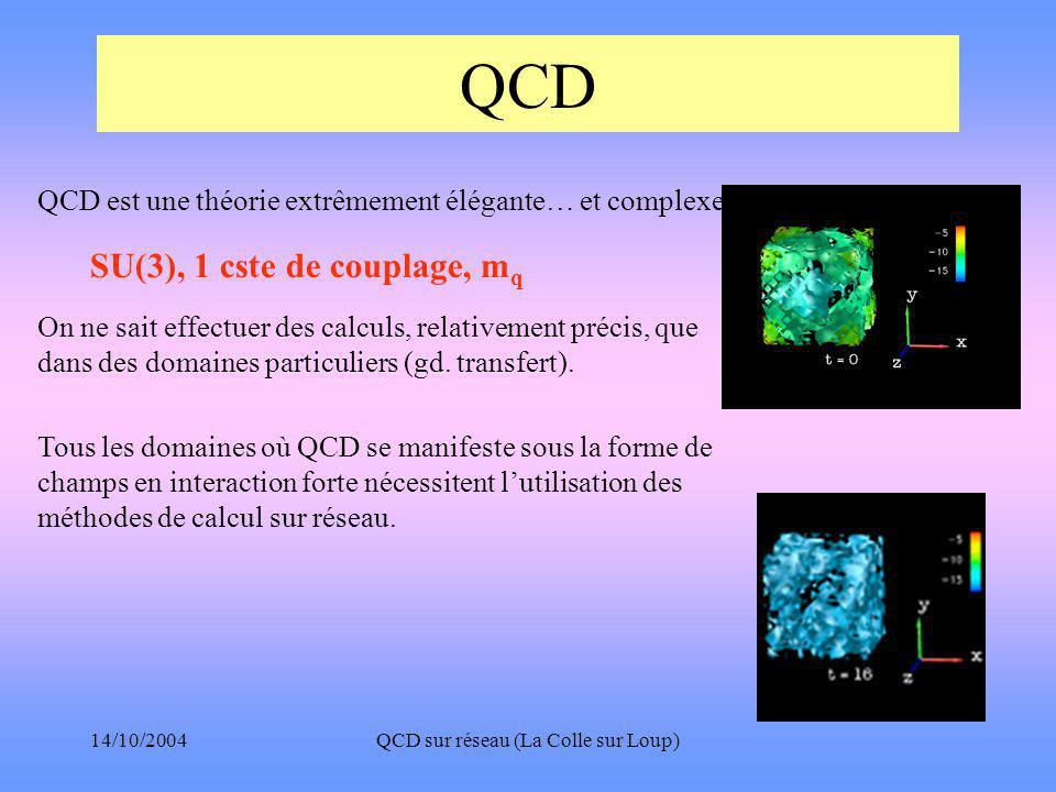14/10/2004QCD sur réseau (La Colle sur Loup) QCD QCD est une théorie extrêmement élégante… et complexe On ne sait effectuer des calculs, relativement précis, que dans des domaines particuliers (gd.