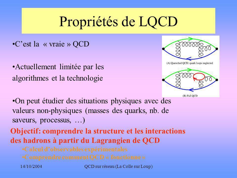 14/10/2004QCD sur réseau (La Colle sur Loup) Propriétés de LQCD •C'est la « vraie » QCD •Actuellement limitée par les algorithmes et la technologie •On peut étudier des situations physiques avec des valeurs non-physiques (masses des quarks, nb.