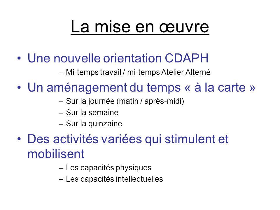 La mise en œuvre •Une nouvelle orientation CDAPH –Mi-temps travail / mi-temps Atelier Alterné •Un aménagement du temps « à la carte » –Sur la journée