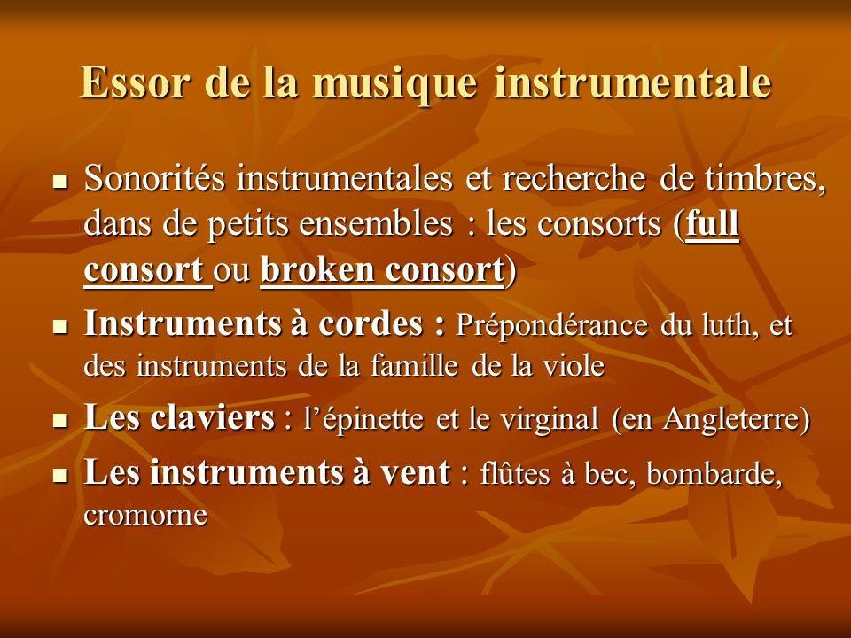 Essor de la musique instrumentale  Sonorités instrumentales et recherche de timbres, dans de petits ensembles : les consorts (full consort ou broken