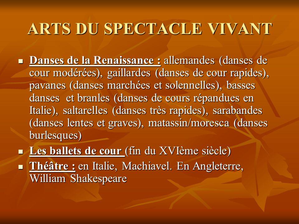 ARTS DU SPECTACLE VIVANT  Danses de la Renaissance : allemandes (danses de cour modérées), gaillardes (danses de cour rapides), pavanes (danses march