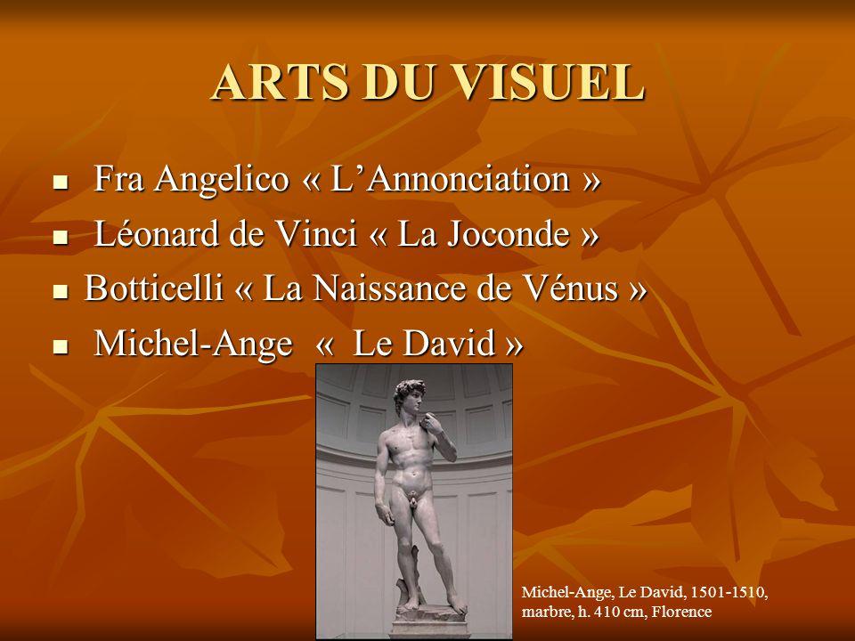 ARTS DU VISUEL  Fra Angelico « L'Annonciation »  Léonard de Vinci « La Joconde »  Botticelli « La Naissance de Vénus »  Michel-Ange « Le David » M