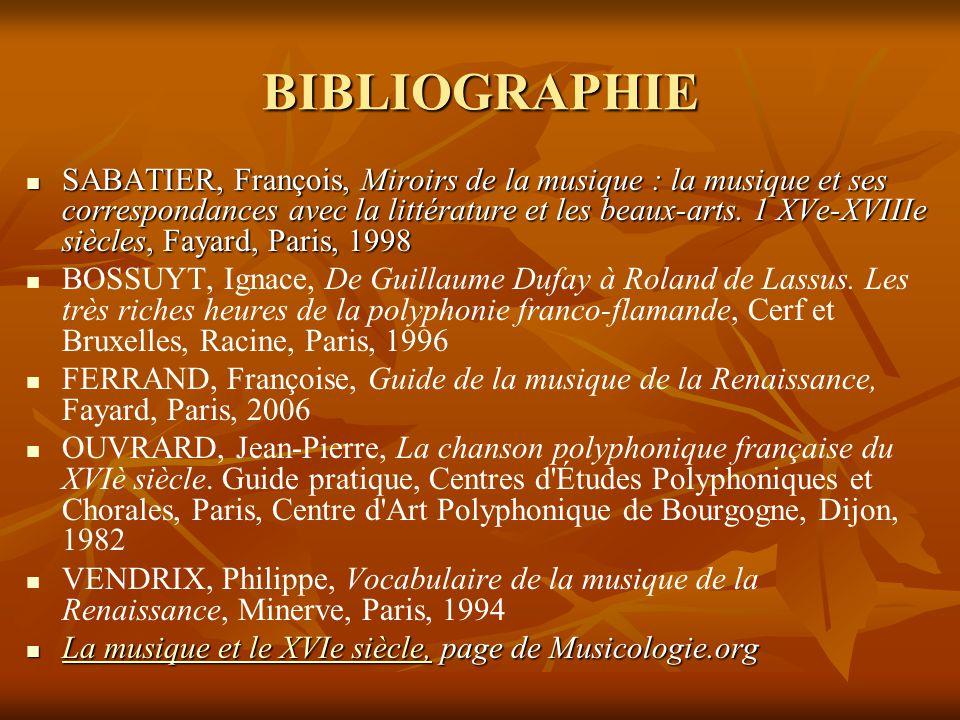 BIBLIOGRAPHIE  SABATIER, François, Miroirs de la musique : la musique et ses correspondances avec la littérature et les beaux-arts. 1 XVe-XVIIIe sièc