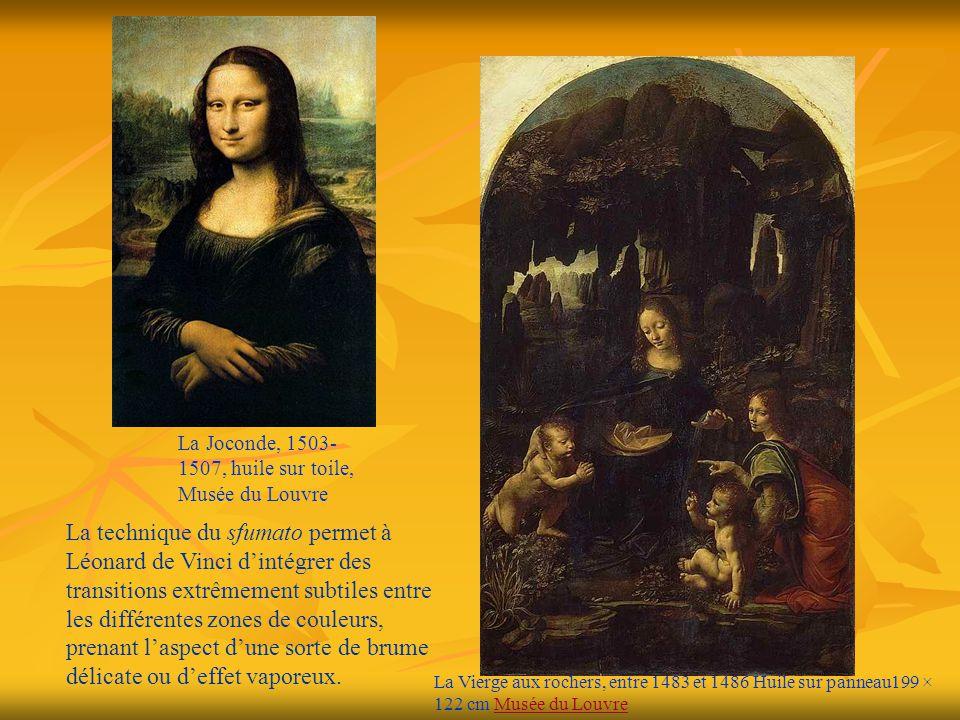 La Vierge aux rochers, entre 1483 et 1486 Huile sur panneau199 × 122 cm Musée du LouvreMusée du Louvre La Joconde, 1503- 1507, huile sur toile, Musée