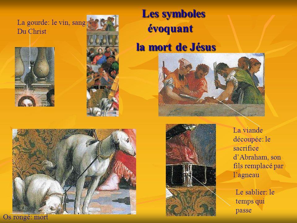 Les symboles évoquant la mort de Jésus Les symboles évoquant la mort de Jésus La gourde: le vin, sang Du Christ La viande découpée: le sacrifice d'Abr