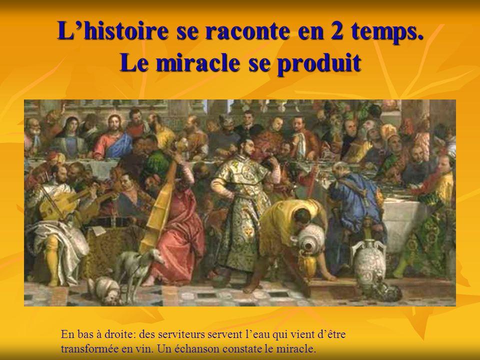 L'histoire se raconte en 2 temps. Le miracle se produit En bas à droite: des serviteurs servent l'eau qui vient d'être transformée en vin. Un échanson