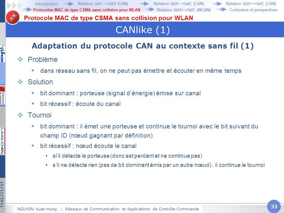 SCR CANlike (1) Adaptation du protocole CAN au contexte sans fil (1)  Problème  dans réseau sans fil, on ne peut pas émettre et écouter en même temp