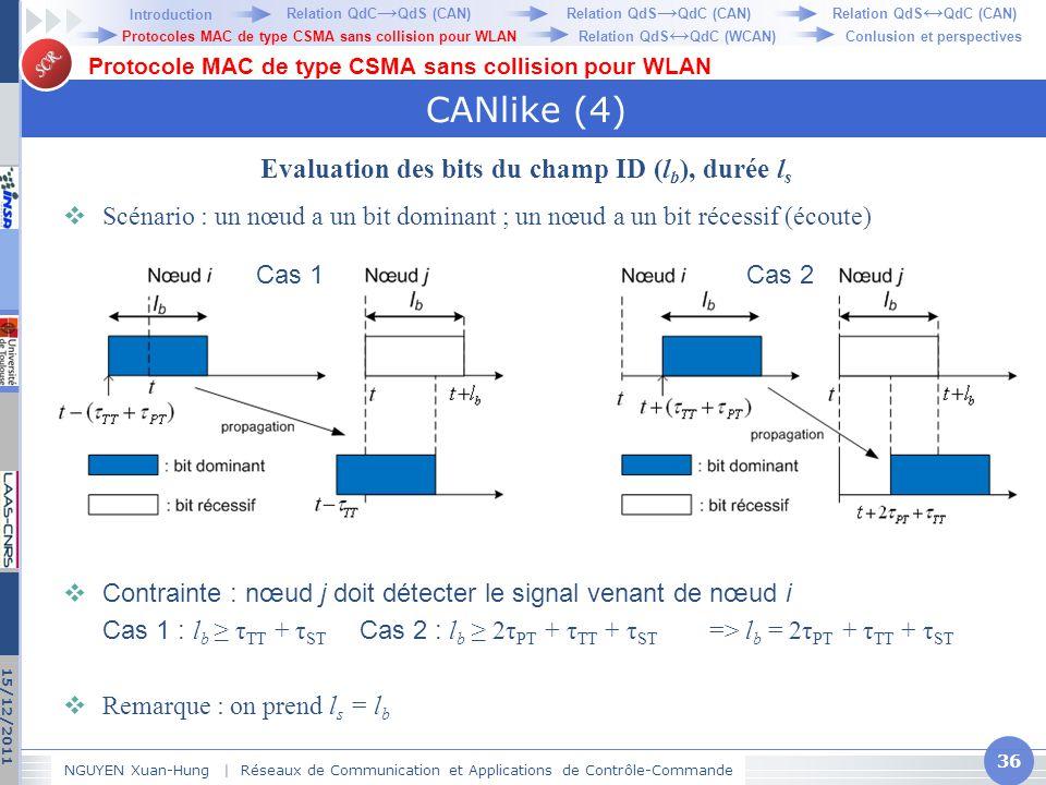 SCR CANlike (4) Evaluation des bits du champ ID (l b ), durée l s  Scénario : un nœud a un bit dominant ; un nœud a un bit récessif (écoute)  Contra