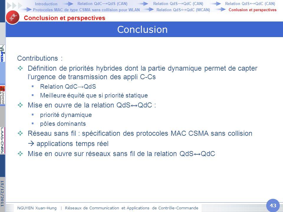 SCR Conclusion Contributions :  Définition de priorités hybrides dont la partie dynamique permet de capter l'urgence de transmission des appli C-Cs 