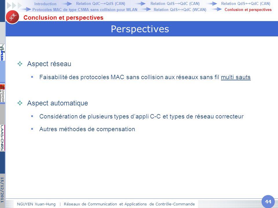 SCR Perspectives  Aspect réseau  Faisabilité des protocoles MAC sans collision aux réseaux sans fil multi sauts  Aspect automatique  Considération