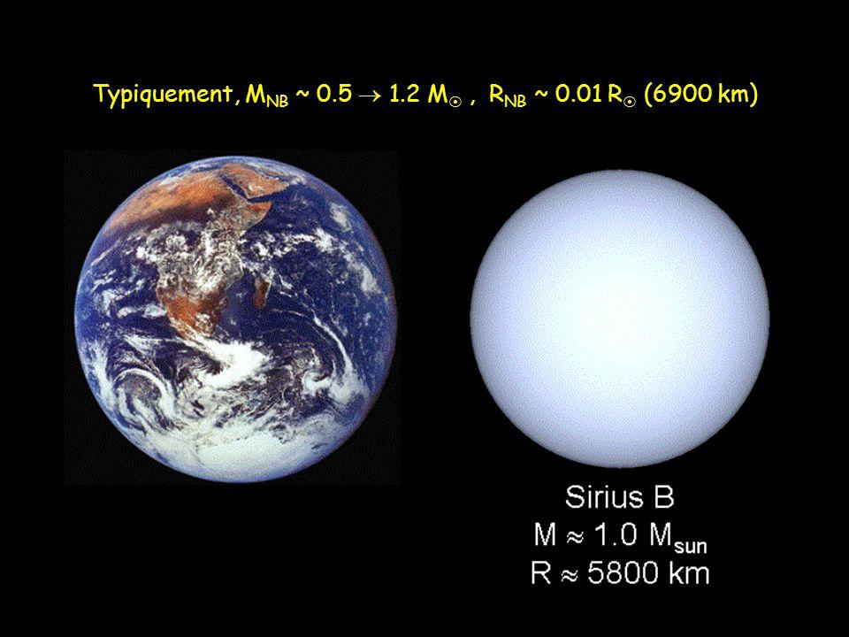 Typiquement, M NB ~ 0.5  1.2 M , R NB ~ 0.01 R  (6900 km)