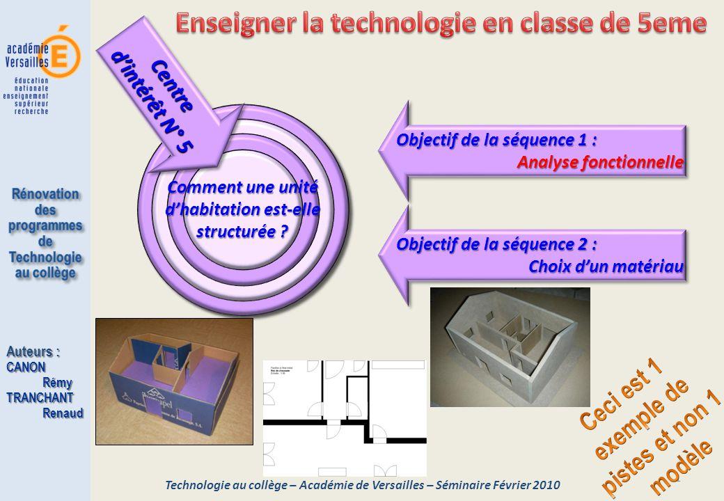 1 Objectif de la séquence 2 : Choix d'un matériau Objectif de la séquence 2 : Choix d'un matériau Technologie au collège – Académie de Versailles – Sé