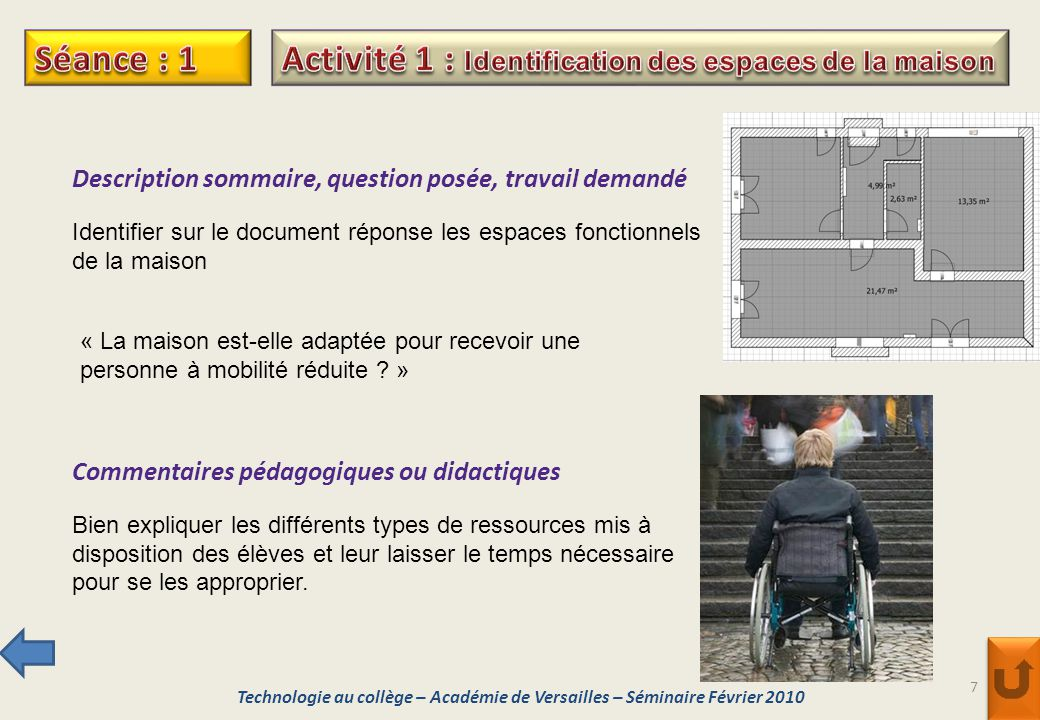 7 Description sommaire, question posée, travail demandé Identifier sur le document réponse les espaces fonctionnels de la maison Commentaires pédagogi