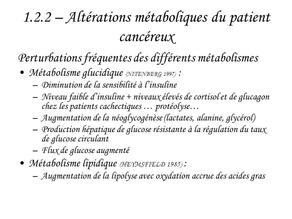1.2.2 – Altérations métaboliques du patient cancéreux Perturbations fréquentes des différents métabolismes •Métabolisme glucidique (NITENBERG 1997) :