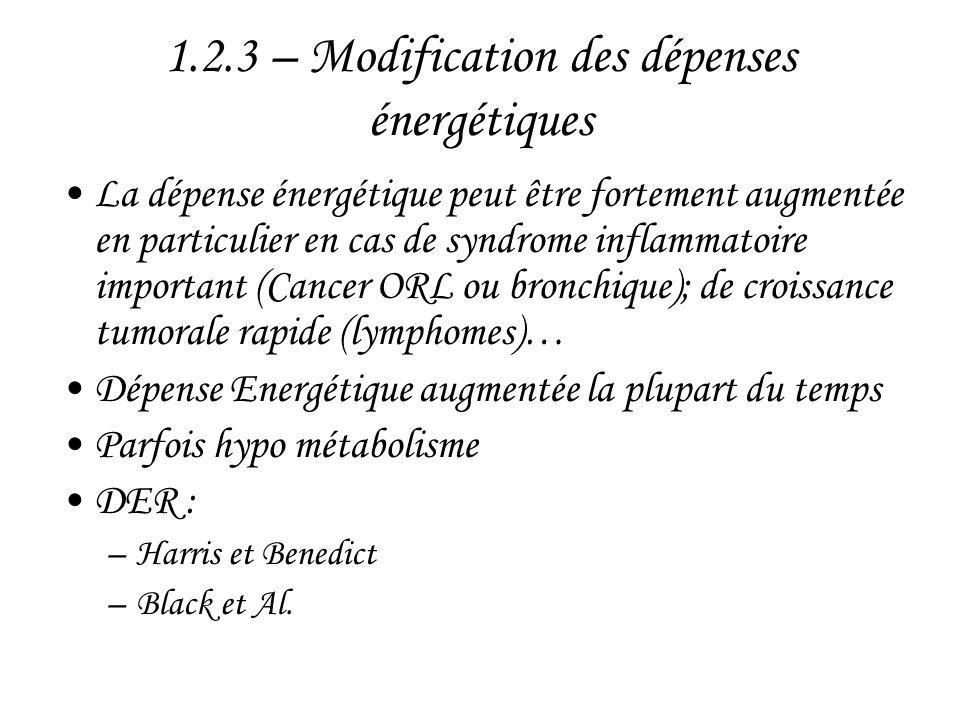 1.2.3 – Modification des dépenses énergétiques •La dépense énergétique peut être fortement augmentée en particulier en cas de syndrome inflammatoire i