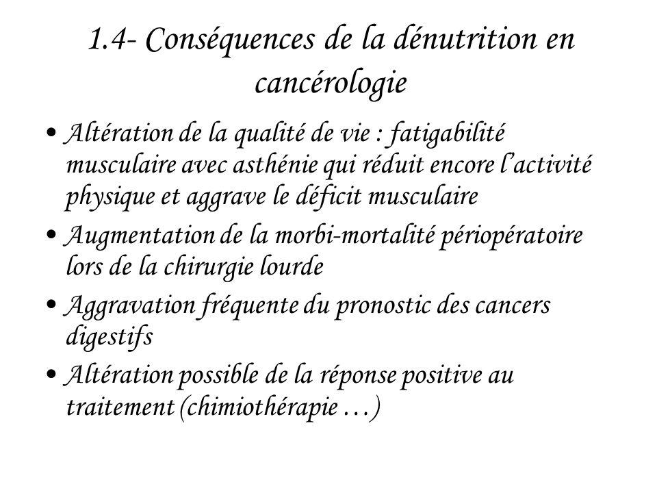 1.4- Conséquences de la dénutrition en cancérologie •Altération de la qualité de vie : fatigabilité musculaire avec asthénie qui réduit encore l'activ