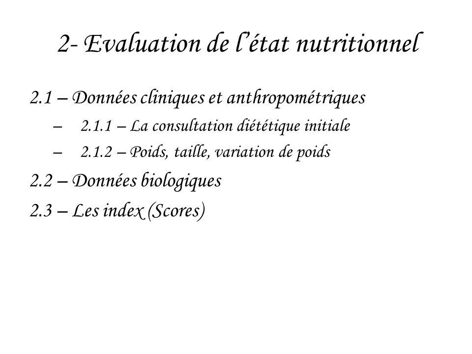 2- Evaluation de l'état nutritionnel 2.1 – Données cliniques et anthropométriques –2.1.1 – La consultation diététique initiale –2.1.2 – Poids, taille,