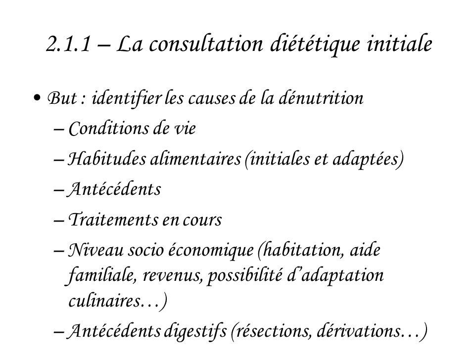 2.1.1 – La consultation diététique initiale •But : identifier les causes de la dénutrition –Conditions de vie –Habitudes alimentaires (initiales et ad