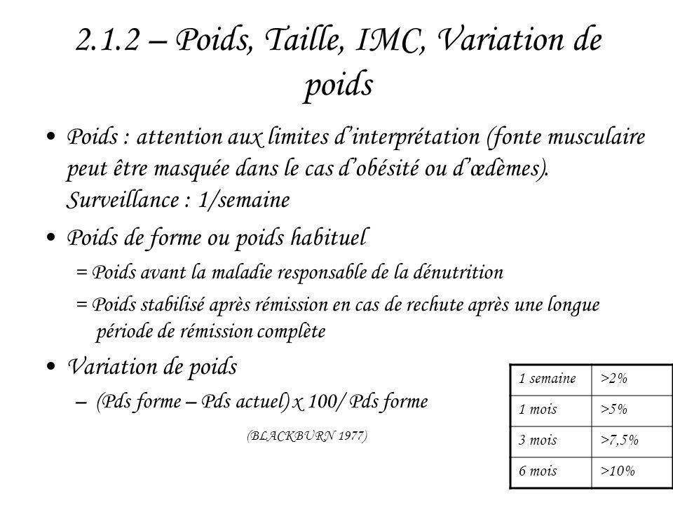 2.1.2 – Poids, Taille, IMC, Variation de poids •Poids : attention aux limites d'interprétation (fonte musculaire peut être masquée dans le cas d'obési