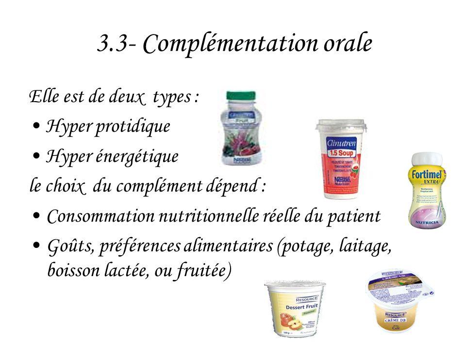 3.3- Complémentation orale Elle est de deux types : •Hyper protidique •Hyper énergétique le choix du complément dépend : •Consommation nutritionnelle