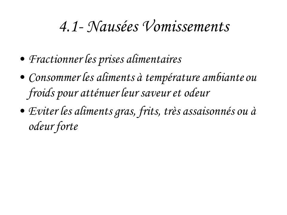 4.1- Nausées Vomissements •Fractionner les prises alimentaires •Consommer les aliments à température ambiante ou froids pour atténuer leur saveur et o