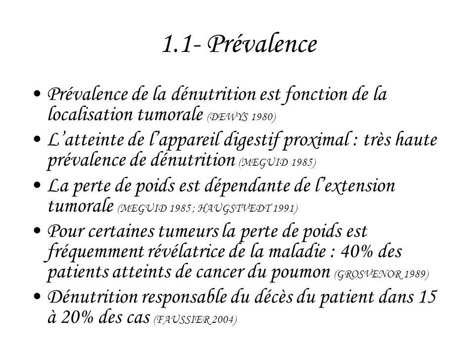 1.4- Conséquences de la dénutrition en cancérologie •Altération de la qualité de vie : fatigabilité musculaire avec asthénie qui réduit encore l'activité physique et aggrave le déficit musculaire •Augmentation de la morbi-mortalité périopératoire lors de la chirurgie lourde •Aggravation fréquente du pronostic des cancers digestifs •Altération possible de la réponse positive au traitement (chimiothérapie …)
