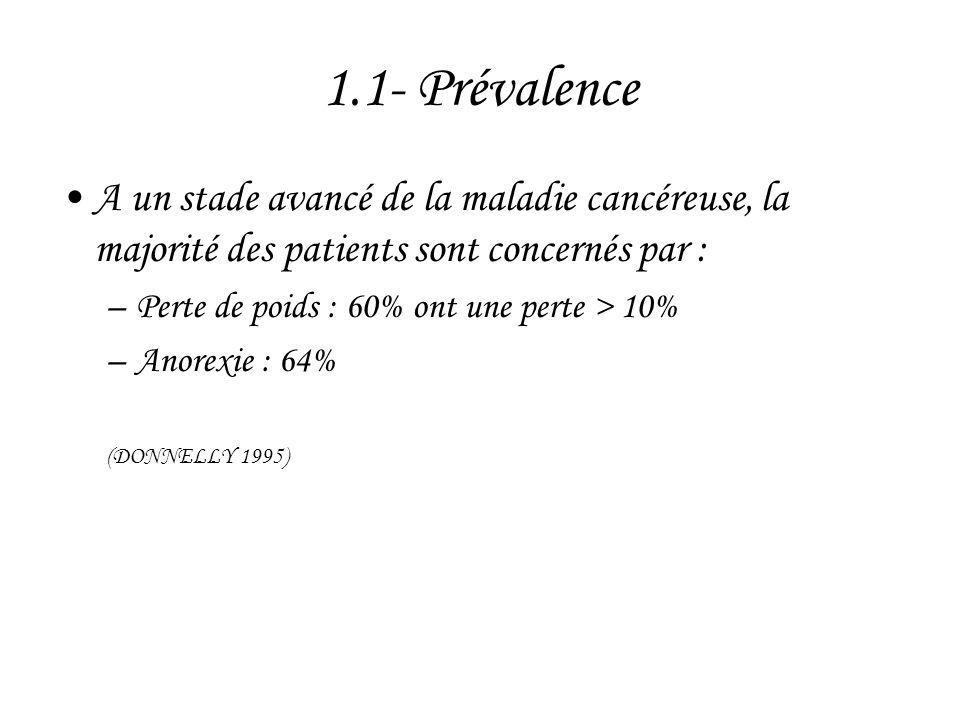 1.1- Prévalence •A un stade avancé de la maladie cancéreuse, la majorité des patients sont concernés par : –Perte de poids : 60% ont une perte > 10% –