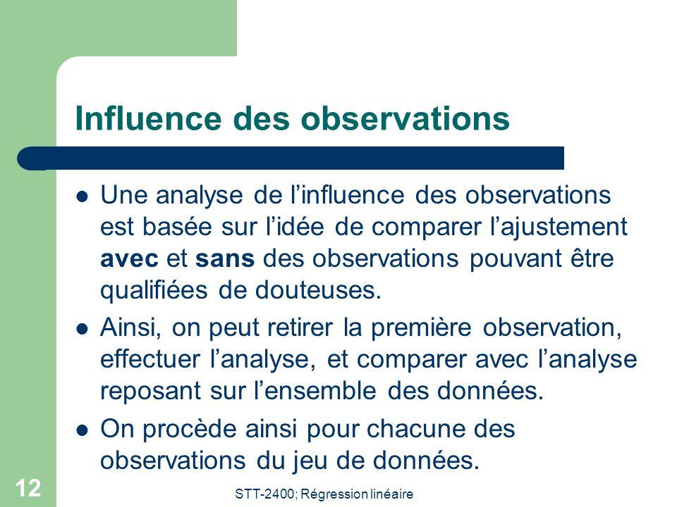 STT-2400; Régression linéaire 12 Influence des observations  Une analyse de l'influence des observations est basée sur l'idée de comparer l'ajustemen